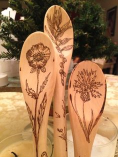 Wood burned wooden spoon's.Flora.