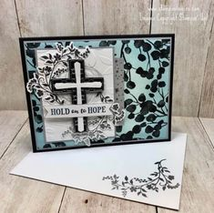 Stamps-N-Lingers.  I made this beautiful sympathy card with the new Hold On To Hope stamp set and bundled Cross of Hope Framelits.  For free instructions and a video tutorial on how to make this card, please visit my blog at:  https://stampsnlingers.com/2018/01/22/stampin-up-hold-on-to-hope-thoughts-prayers/