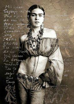 Kunstwerk: 'Frida Kahlo' van Harald Fischer Vintage Photographs, Vintage Images, Fridah Kahlo, Frida Kahlo Portraits, Kahlo Paintings, Frida And Diego, Frida Art, Ziegfeld Girls, Diego Rivera