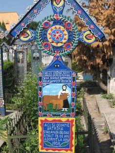 The Merry Cemetery in Sapanta, Maramures Travelers Rest, Visit Germany, Cemetery Art, Vanitas, Small Towns, Romania, Folk Art, Merry, Illustration