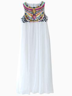 White National Embroidery Chiffon Maxi Dress With Rhinestone | Choies
