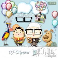 Commercial Use Scraps Cliparts Up - Pathy Design - This package contains: 11 elements in PNG designed by me Movie Characters UP High Adventures Disney Commercial Use Second Birthday Ideas, 2nd Birthday Parties, Disney Up, Disney Pixar, Up Personajes, Up Pixar, Printable Shapes, Shape Crafts, Baby Art
