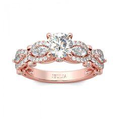 Jeulia Rose Gold-Tone Milgrain Round Cut Created White Sapphire Engagement Ring - Jeulia Jewelry