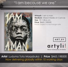 """In """"I am a man"""" By Ludumo Maqabuka, reality bites as this young boy stares blankly through you. Seeing nothing, yet having seen everything, he has possibly witnessed more in his short life than any human should have to. Millions exactly like him have lost both parents and often grandparents due to HIV-Aids, TB, the harsh economic climate, and urbanization. The full weight of survival and caring for younger siblings have fallen on him if, in fact, he is lucky enough not to be completely… Contemporary African Art, Hiv Aids, Reality Bites, Be A Man, Mixed Media Canvas, Canvas Artwork, Grandparents, Siblings, Online Art"""