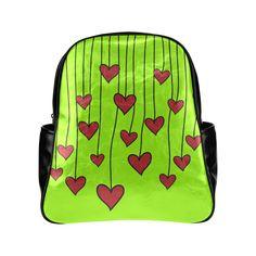 Waving Love Heart Garland Curtain Multi-Pockets Backpack (Model 1636)