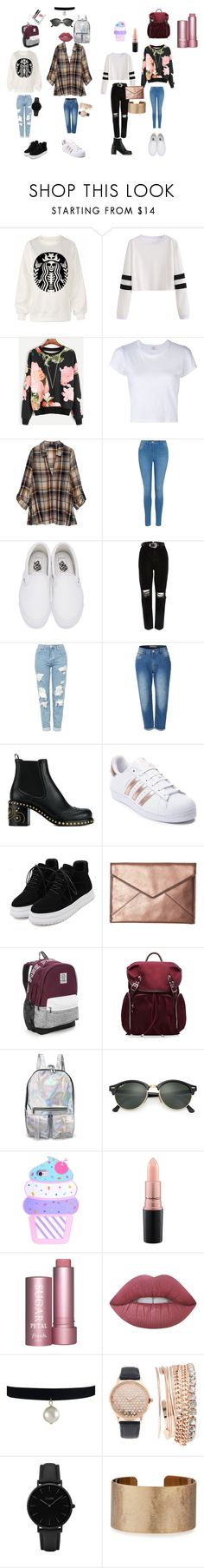 """Untitled #174"" by ameliaristickitty on Polyvore featuring RE/DONE, Bobeau, George, Vans, River Island, Topshop, LE3NO, Miu Miu, adidas and WithChic"