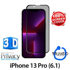 Brando Workshop Full Screen Coverage Curved Privacy Glass Screen Protector (iPhone 13 Pro (6.1)) - Black