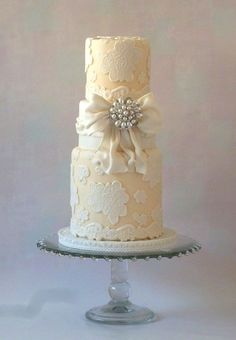 Gorgeous Tall Tier Lace Cake