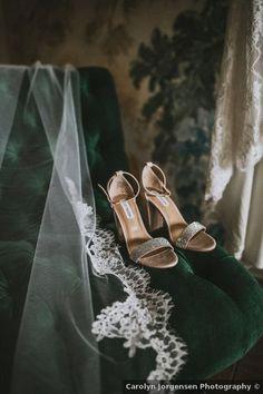 Wedding shoes ideas - open toe, glitter, rhinestones, Steve Madden, heels, silver {Carolyn Jorgensen Photography}