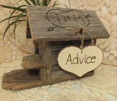 Wedding Advice Card Box Bird House Rustic by ButterBeanVintage