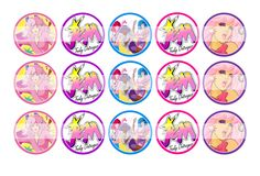 """Jem and the Holograms - 1"""" Bottle Cap Designs / DIY Hair Accessories / DIY Earrings / DIY Necklace / DIY Key Chain / Birthday Party / Party Favors / DIY Magnets / Bottle Cap Crafts / Bottle Cap Art / Bottle Cap Ideas / Bottle Cap Party Favors / Children Party Ideas / Children Party Themes / Kid Party Ideas / DIY Party Ideas"""