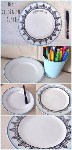 DIY Hand Painted Polka Dot Swirls Ceramic Plate | Ceramic plates Craft and Christmas gifts : diy ceramic plates - pezcame.com