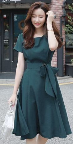 StyleOnme_Romantic Ribbon Waist Tie Flared Dress Source by Dresses Modest Dresses, Stylish Dresses, Simple Dresses, Elegant Dresses, Casual Dresses, Sexy Dresses, Prom Dresses, Summer Dresses, Wedding Dresses