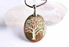 Tree of Life - Engraved Stone Pendant - Unakite $28.00