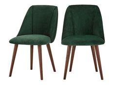 2 x Lule Esszimmerstühle, Walnuss und Samt in Tannengrün
