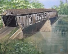 """Here is that Kentucky Covered Bridge of the Past, finished. It's the Lair Station Covered Bridge in Harrison County, KY. Across the South Licking River, near where the old Seagrams Distillery was located. It is a 16"""" x 20"""" Acrylic."""