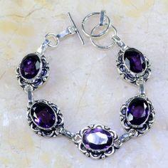 Handmade Jewelry Botswana Agate Sterling Silver Overlay Bracelet 7-9 Long Fantasy Black Onyx