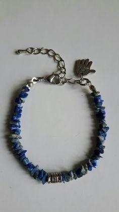 "Blauwe split armband. Met bedeltje "" handmade """