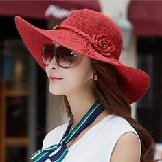 0b375410e20 Summer flower wide brim straw hat for women beach package sun hats