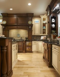 Covered Bridge Cabinetry- Two Toned French Style Kitchen French Kitchen, Country Kitchen, Glass Front Cabinets, Cherry Cabinets, First Kitchen, French Country Style, Kitchen Cabinetry, Bridge, Kitchens