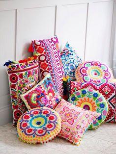Picado Embroidered Cushion Rectangular Long Pink and Oranges - Cushions - Soft Furnishings - Homeware Boho Dekor, Deco Originale, Embroidered Cushions, Indian Home Decor, Deco Design, Bohemian Decor, Bohemian Design, Boho Chic, Soft Furnishings