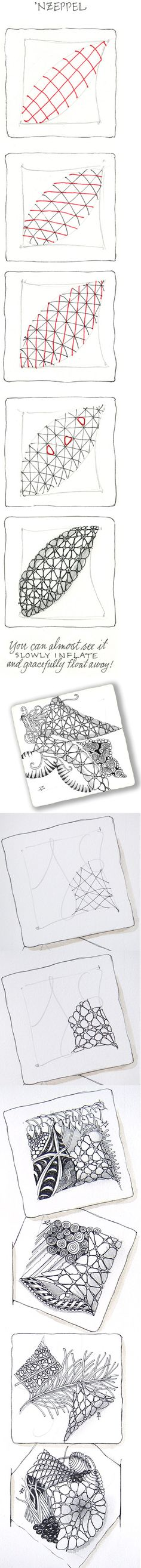 'Nzeppel ~ Official Zentangle #tangle with variation and examples by Maria Thomas #Zentangle founder