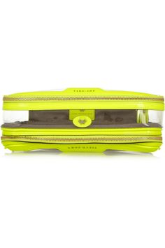 Anya Hindmarch | In Flight neon patent leather-trimmed travel case | NET-A-PORTER.COM