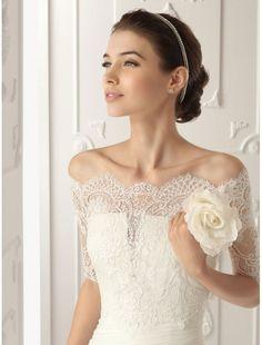 off the shoulder wedding dresses | ... Wedding Dress with Removable Off-the-Shoulder Lace Jacket - Bridal