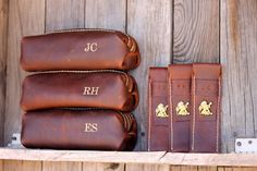 Custom Groomsman Gift Personalized Leather HANDMADE Shaving Kit Bag w/ Straigt Razor Sleeve Groomsman Groomsmen Gifts Groom OOAK Dopp Kit on Etsy, $58.00