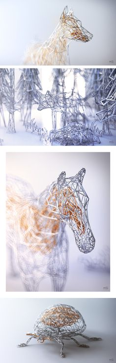 Elegant Wireframe Animal Renderings by 3D Artist Mat Szulik