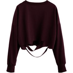 Burgundy Drop Shoulder Cut Out Crop T-shirt (€7,35) ❤ liked on Polyvore featuring tops, shirts, sweaters, crop tops, burgundy, long sleeve polyester shirts, long sleeve tops, burgundy shirt, long-sleeve shirt and purple top