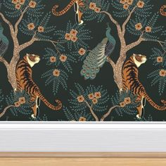 tiger and peacock custom wallpaper by sveta_aho for sale on Spoonflower Peacock Wallpaper, Tiger Wallpaper, Animal Wallpaper, Custom Wallpaper, Wallpaper Roll, Large Print Wallpaper, Eclectic Wallpaper, Dining Room Wallpaper, Chinoiserie Wallpaper