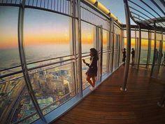 View of the setting sun from the highest Observatory deck in the world! @BurjKhalifa #BurjKhalifa #148thfloor #828m #MyDubai #Dubai #DowntownDubai #Travel