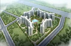 pan oasis apartments top view is looking attractive because surrounded area is covered with greenish environment..