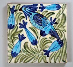 Repro Vintage Antique De Morgan Cockatoo Bird Ceramic Tile - animal gift ideas animals and pets diy customize Victorian Fireplace Tiles, Victorian Tiles, Antique Tiles, Art And Craft Design, Art Deco Design, Tile Design, William Morris, Vintage Art, Vintage Antiques