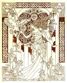 Beautiful pyrography artwork depicting Celtic moon goddess Arianrhod with owl on her hand among delicate flowers and celtic ornamental decorations. Image was taken from Dover publications coloring ...