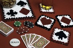 Crochet Coasters Pattern: Wiggly Playing Cards Centerpiece and Wiggly Crochet Patterns, Crochet Coaster Pattern, Crochet Slipper Pattern, Crotchet Patterns, Crochet Chart, Easy Crochet, Crochet Gifts, Crochet Dolls, Crochet Things