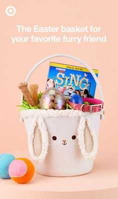 Some Easter bunnies aren't bunnies at all! Treat your four-legged friend to a sweet new leash or collar, some bright new toys, the hit movie Sing on DVD, and of course, a treat or two in his or her basket this Spring.