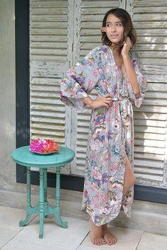 Luxurious Long Kimono Robe with Pink Botanical Pattern.  Stunning Wedding Robe or Bridesmaid Robe from @piyamasleepwear