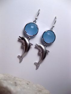 Blue Ocean Sea Dolphin Silver Earrings