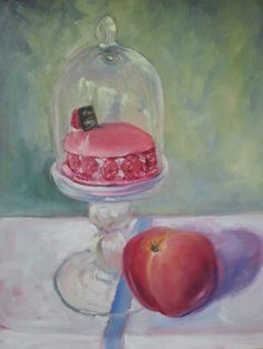 Confection: a 12x9 oil painting of a lovely macaron framboise from the bakery in St Girons, France.