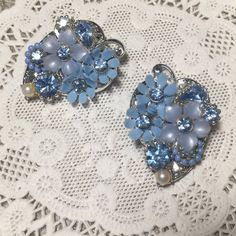 Gorgeous vintage clip on earrings with by VintageFlowerTop on Etsy