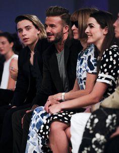 Brooklyn Beckham, David Beckham et Anna Wintour au défilé Victoria Beckham