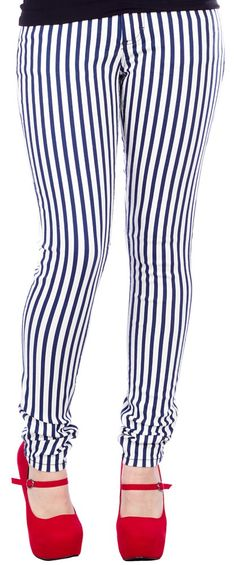 LOST+AT+SEA+STRIPED+SKINNY+JEANS+NAVY/WHITE