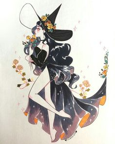 Witch of the flowers 🌸 Minecraft Skin Art And Illustration, Illustrations, Fantasy Kunst, Fantasy Art, Pretty Art, Cute Art, Art Sketches, Art Drawings, Witch Drawing