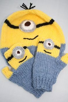 Minion hat and glove set. despicable me. 2-4 years. Kids fingerless gloves. on Etsy, $11.23 @Sarah Bredahl Abby might like this. I can't remember if we've watched despicable me