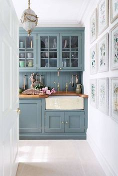Blue grey kitchen wood tops