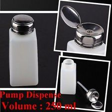 2pc 250ML Pump Dispenser Bottle Nail Art Makeup Tool J0212-3 by Nail Art. $12.99. 2x Pump Dispenser Bottle Nail Art Makeup. Free Gift:1pc of Nail Art Sticker for Sample Try!. 100% Brand new in retail box package   Liquid inside the bottle can be pumped up when you press the big seal, you can then get the liquid with cotton pads or cloth.   Volume: 250ML , size: 13 cm (Height) x 5 cm (Diameter)   Perfect tools for your nail treatments, gel nail process, nail cleansing, makeup ...