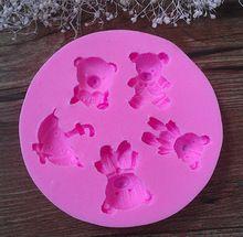 292 ursos e Umbrella forma Silicone 3D bolo Fondant mold, Bolo decoração…