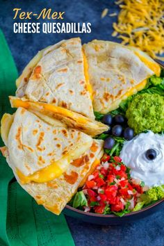 Feed your cheese craving with these scrumptious Tex-Mex Cheese Quesadillas. You'll love this quick and simple snack recipe that's super easy to make and incredibly satisfying. When paired up with a variety of colorful healthy condiments, these cheese ques